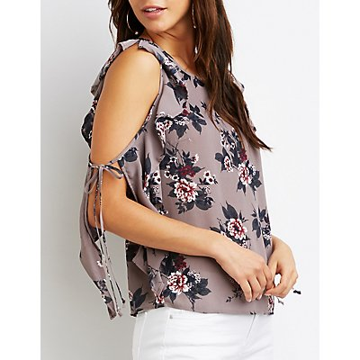 Floral Ruffle-Trim Split Sleeve Top