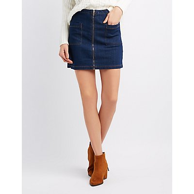 Highway Zipper Front Denim Skirt