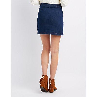 Highway Zipper Front Denim Skirt