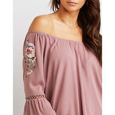 Crochet Detailed Cold-Shoulder Embroidered Top