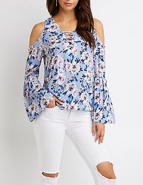 Floral Lace-Up Cold Shoulder Sweater