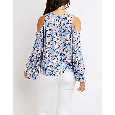 Floral Lace-Up Cold Shoulder Top
