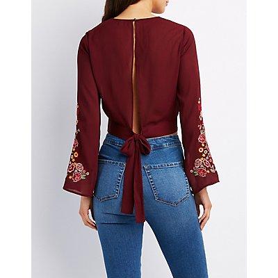 Surplice Floral Sleeve Tie-Back Crop Top