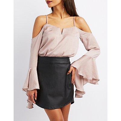 Cold Shoulder Ruffle-Trim Top