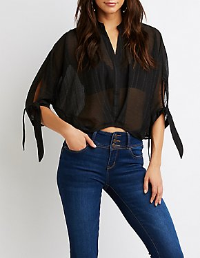 Mock Collar V-Neck Top