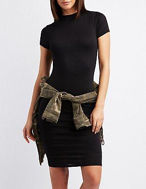 Skimmer Knit Keyhole Shift Dress