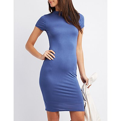 Skimmer Knit Keyhole Bodycon Dress
