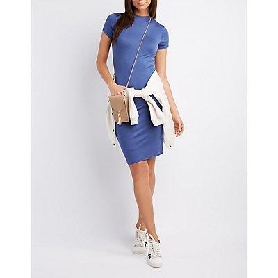 Skimmer Knit Keyhole Bodycon Dress