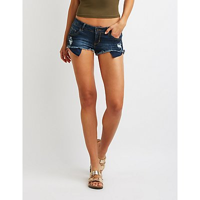 Refuge Destroyed Super Shortie Denim Shorts