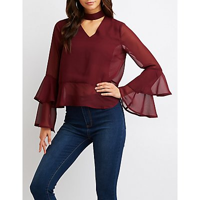 Choker Bell Sleeve Top