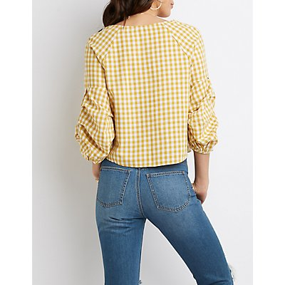 Gingham Pintuck Sleeve Top