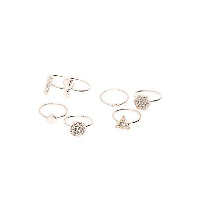 Embellished Geometric Stacking Rings -7 Pack