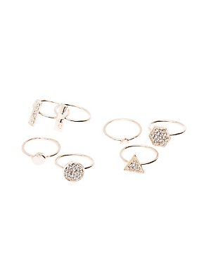 Embellished Geometric Stacking Rings -7 Pack