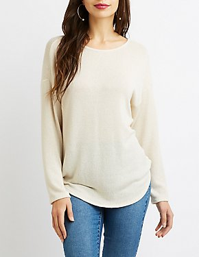 Shaker Stitch Open-Back Sweater