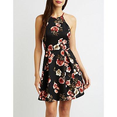 Floral Lace-Back Bib Neck Skater Dress