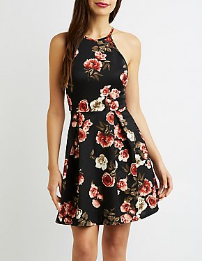 Floral Lace-Back Bib Neck Skater Dress