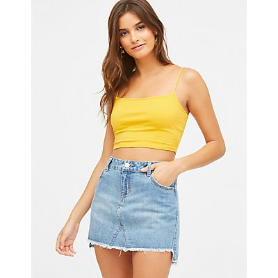 Refuge Frayed Hem Denim Mini Skirt