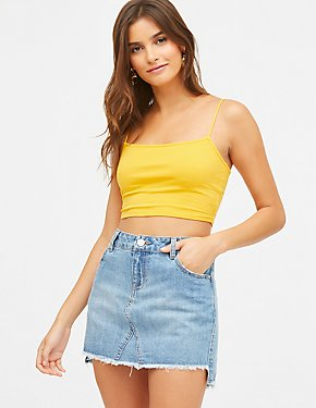Refuge Frayed Hem Denim Mini Skirt