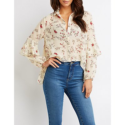 Floral Ruffle-Detail Button-Up Top