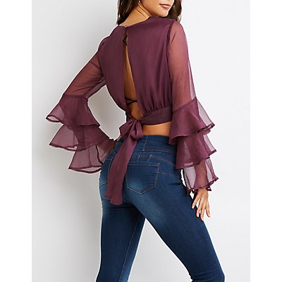 Back Tie Ruffle Crop Top