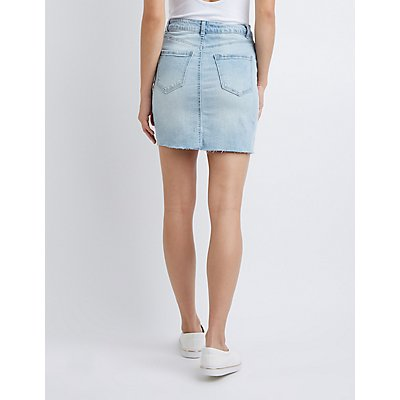 Refuge Button-Up Denim Skirt