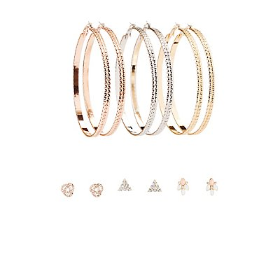 Embellished Hoop & Stud Earrings - 6 Pack