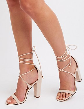 Patent Lace-Up Block Heel Sandals