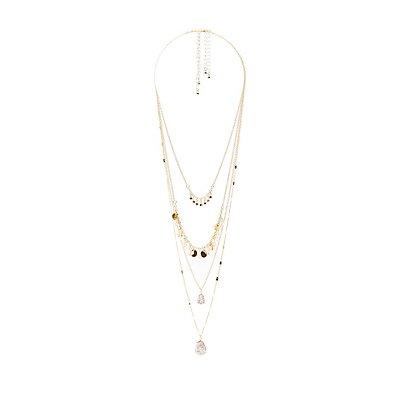 Gliiter & Stone Layering Necklaces