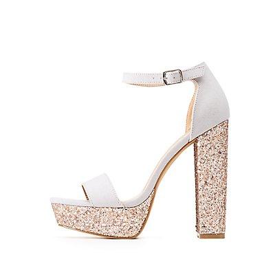 Glitter Ankle Strap Platform Sandals
