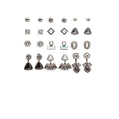 Embellished Ear Jacket & Stud Earrings - 12 Pack