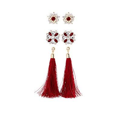 Embellished Stud & Crystal Earrings - 3 Pack