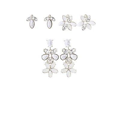 Marble & Crystal Stud Earrings - 3 Pack