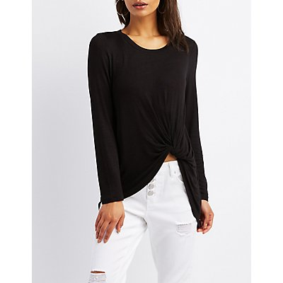 Front Tie-Front High-Low Tunic Top