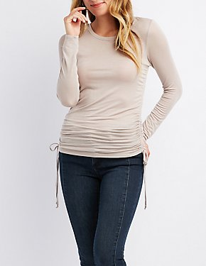 Ruched Scoop Neck Top