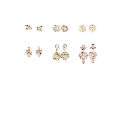 Embellished Stud & Drop Earrings - 6 Pack