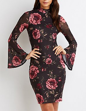 Floral Mesh Mock Neck Bodycon Dress