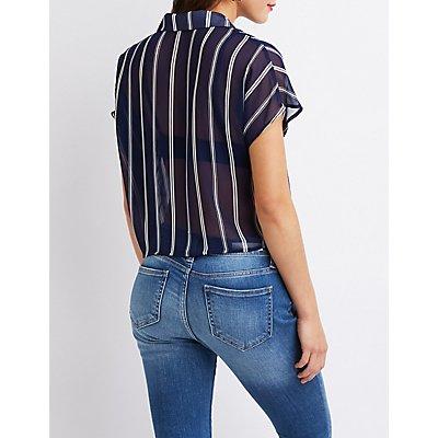 Striped Front-tie Crop Top