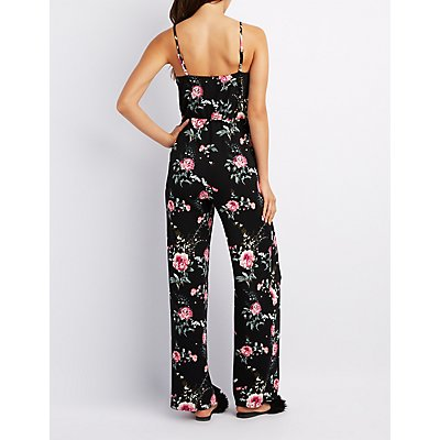 Floral Surplice Wide Leg Jumpsuit