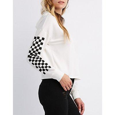 Checkered Crop Hoodie