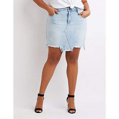 Plus Size Cello Destroyed Denim Mini Skirt