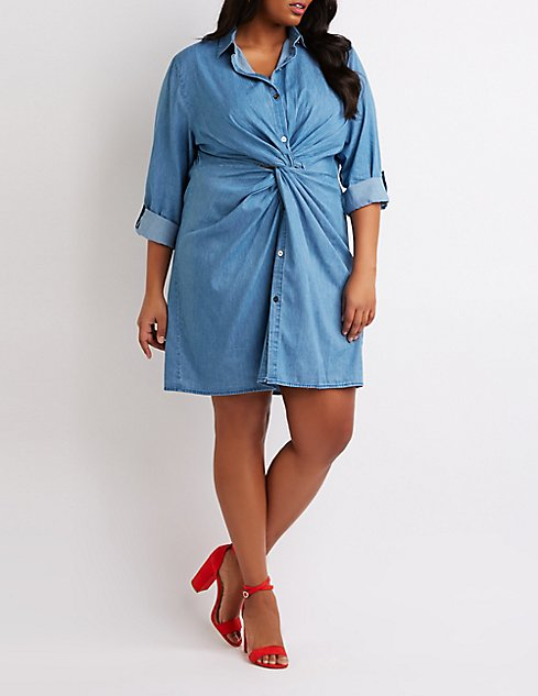 Plus Size Chambray Front-Tie Shirt Dress | Charlotte Russe