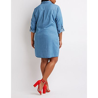 Plus Size Chambray Front-Tie Shirt Dress