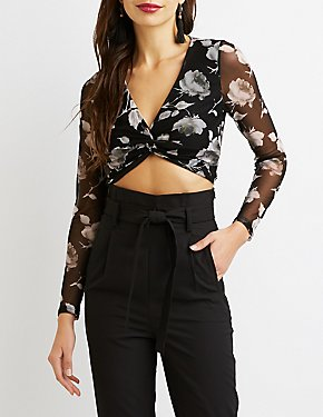 Floral Knotted-Front Mesh Top