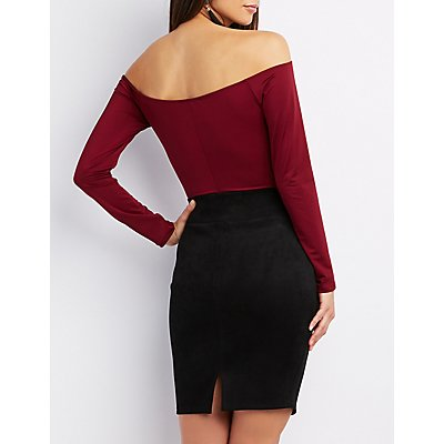 Off-The-Shoulder Ruched Bodysuit