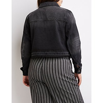 Plus Size Cello Frayed Hem Denim Jacket