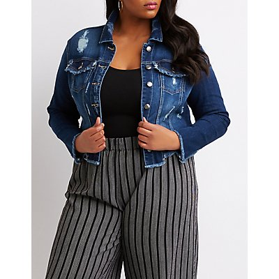 Plus Size Cello Destroyed Denim Jacket
