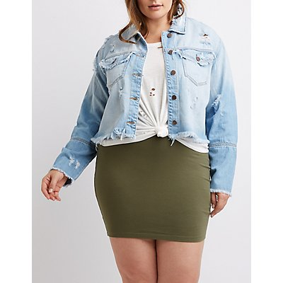 Plus Size Cello Cropped Denim Jacket