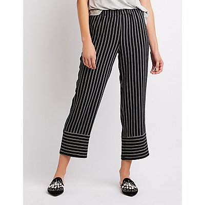 Striped Cropped Palazzo Pants