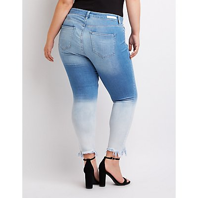 Plus Size Cello Frayed Hem Ombre Skinny Jeans