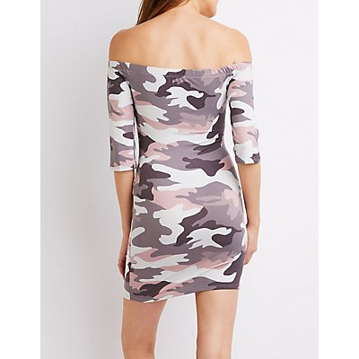 Printed Off-The-Shoulder Bodycon Dress